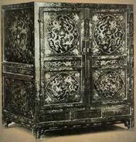 龙纹黑漆描金药柜