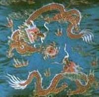 二龙戏珠( 织绣工艺  刺绣靠垫)